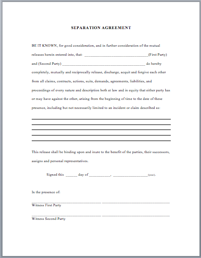 Separation Agreement Template | business templates | Pinterest ...