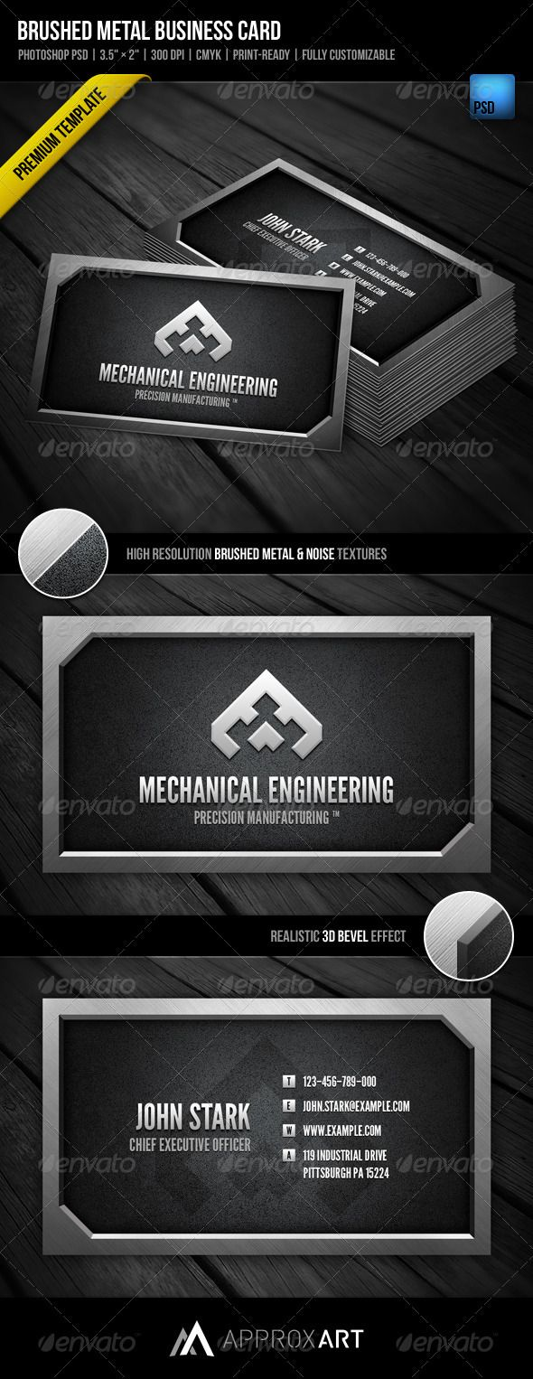 Brushed Metal Business Card | Business cards, Template and Card ...