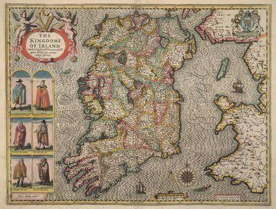 "Photo of East Urban Home Leinwandbild ""Map Of Ireland"" von John Speed, Grafikdruck | Wayfair.de"