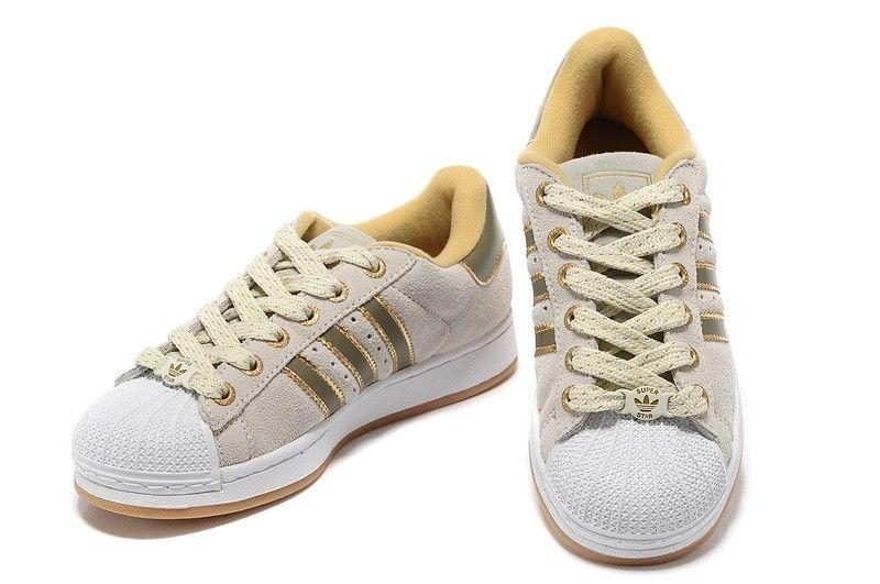 Adidas Originals Superstar II mujer casual zapatillas oro / crema