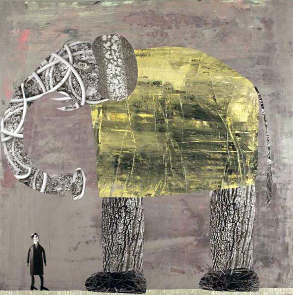 Man with Elephant, 2009, by Holly Roberts