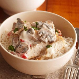 A fat-free sour cream and mushroom sauce makes this low-fat chicken dish extra rich.
