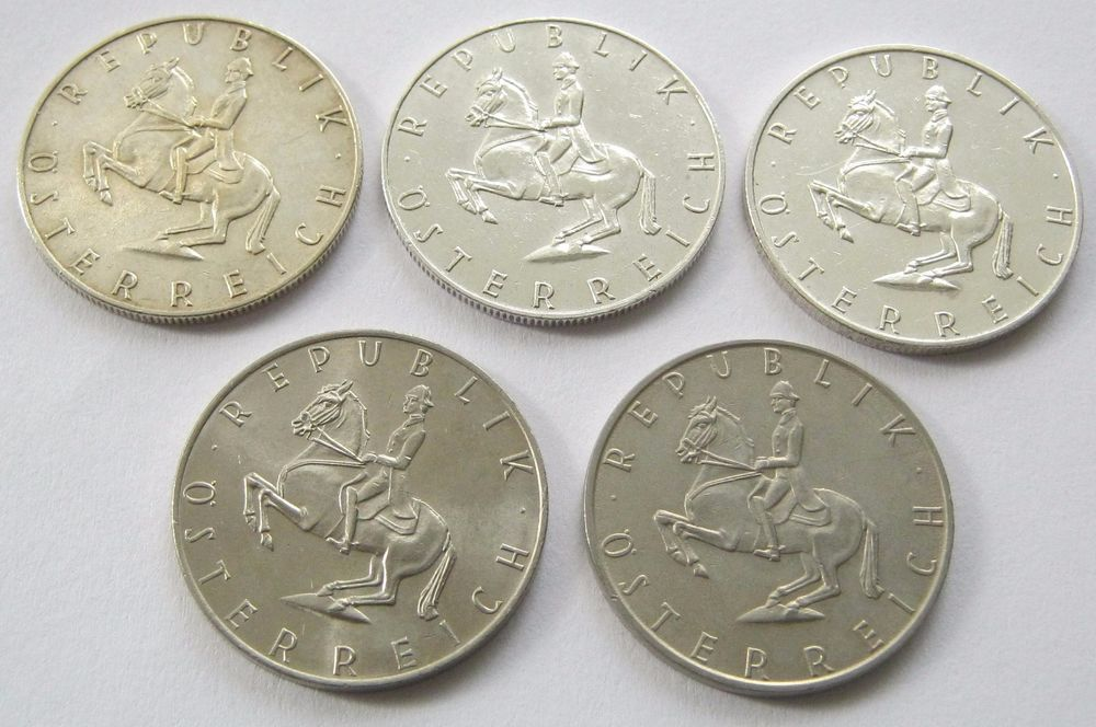 Austria 5 Coins 5 Schilling 1960 1961 1966 Silver 1974 And