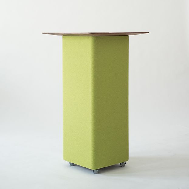 RELAX Table | Acoustic Table | 2015 | Nina Mair | Architecture | Design | Austria | Acoustically Effective Furniture | Absorbtion Surface | Textile Cover | 100% Merino Wool | 36 Different Colours | Flexible Furniture | Dimensions: Total Hight: 110 cm Acoustic Absorber: WxLxH = 40x40x102,5 cm Table Top: WxLxH = 64x64x2,5 cm Casters: H = 5 cm |