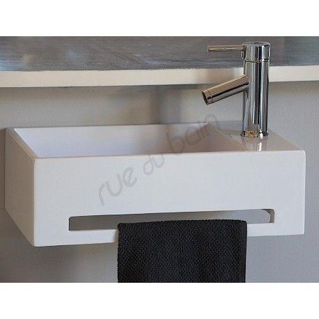 Lave Main avec porte serviette Blanc Brillant, 48x30 cm, Composite