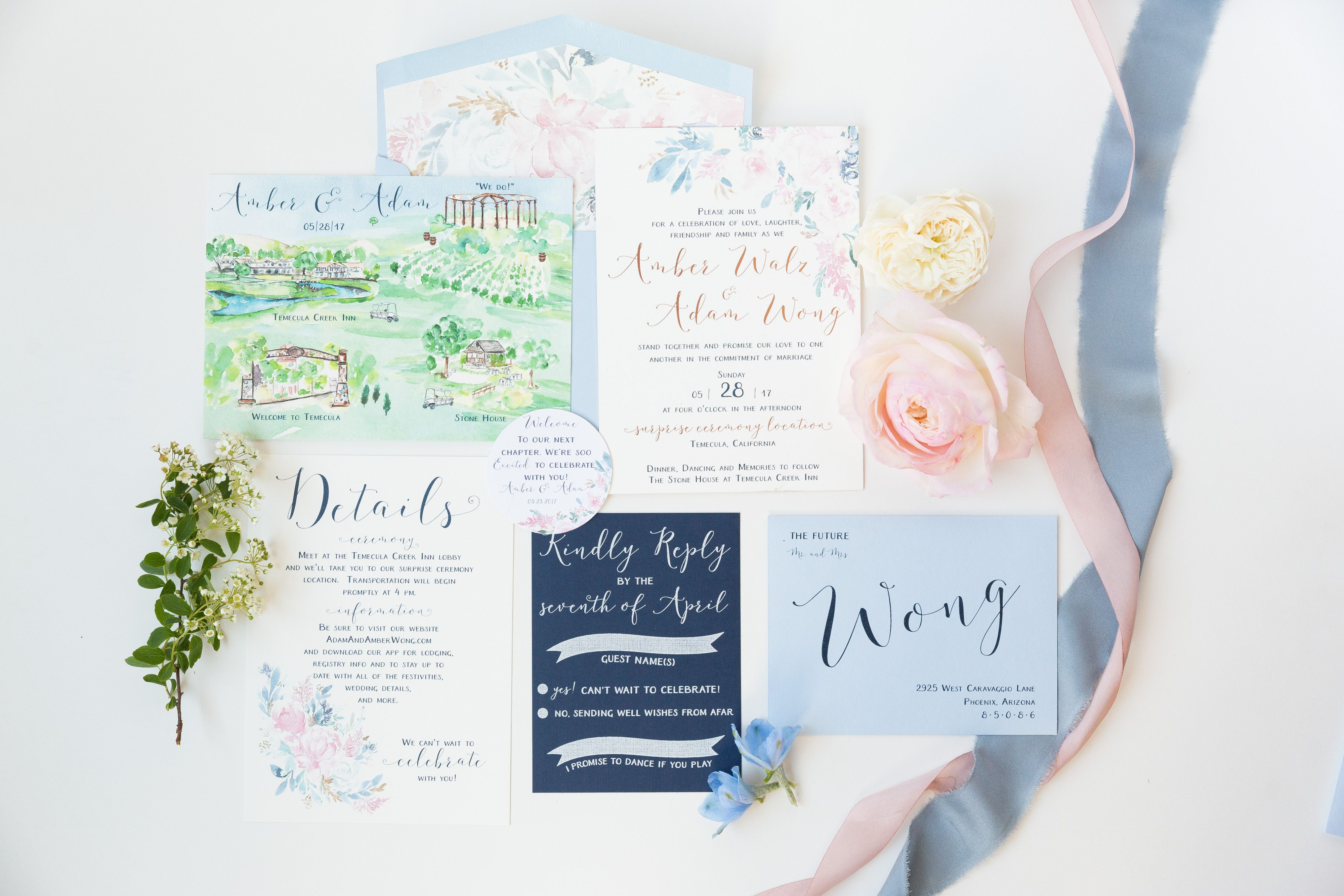 Blush And Dusty Blue Wedding With Watercolor Invitations In Temecula