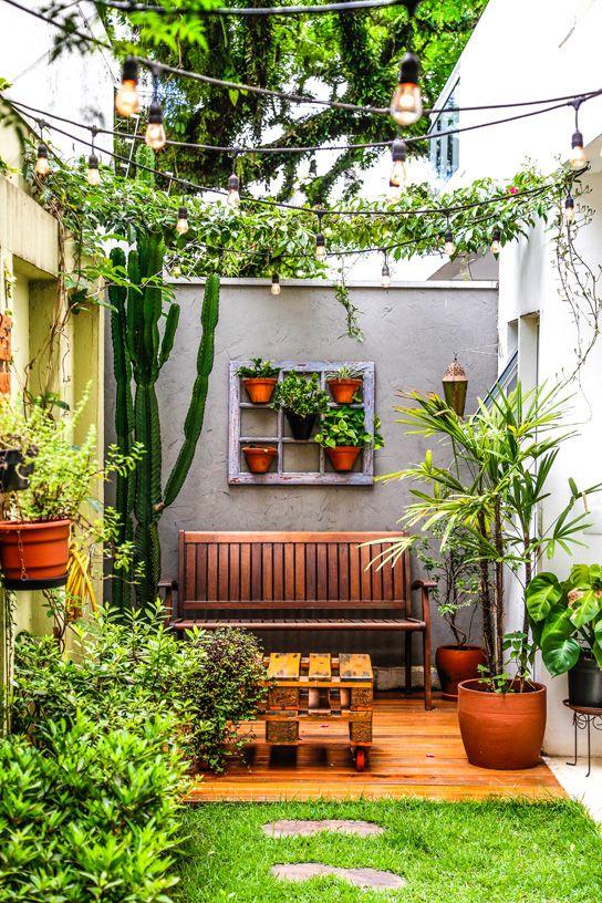 Momentos e detalhes #002 | Jardins para pátio pequeno, Quintais pequenos,  Jardim com terraço