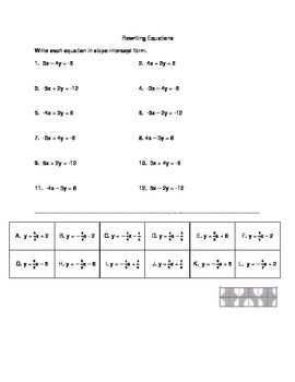 Rewriting Equation from Standard form to Slope-intercept ...