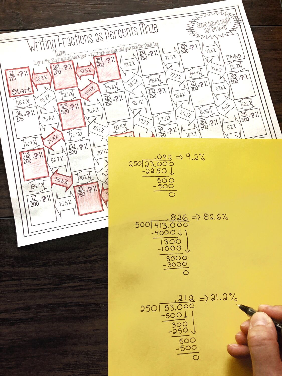 Writing Fractions As Percents Maze Worksheet