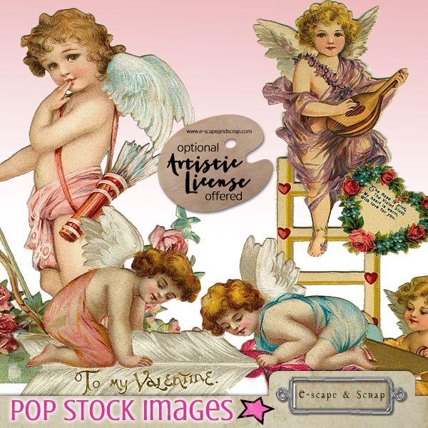 Vintage Valentine Clip Art - 100 Diecut Valentine Cards