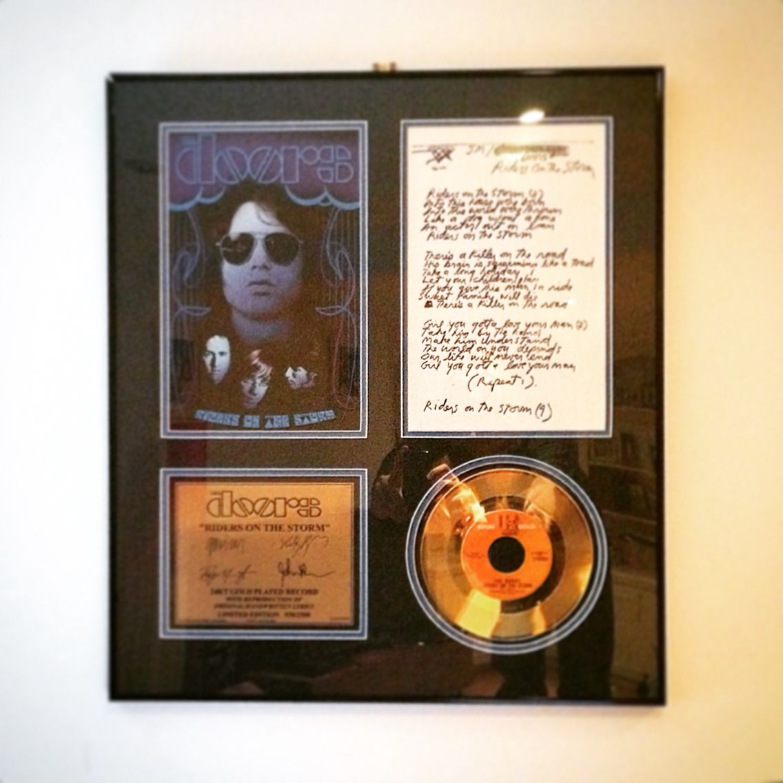 The Doors Riders On The Storm Gold Plated 7 Single With Hand
