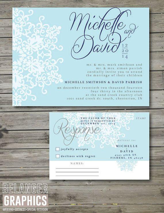 Winter Theme Wedding Invitation Set by BelangerGraphics on Etsy ...