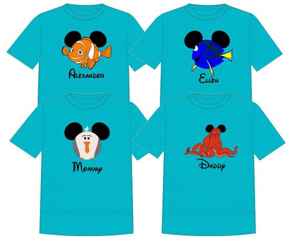 4 Pack Family Disney Finding Dory Nemo Vacation T-Shirts FoXqtJww