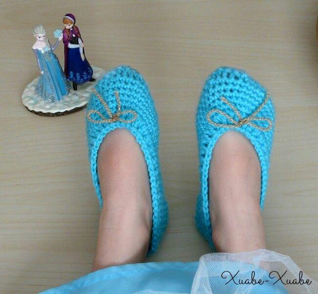 Patrón de Zapatillas de Elsa (Frozen) a crochet. | Keren | Pinterest ...