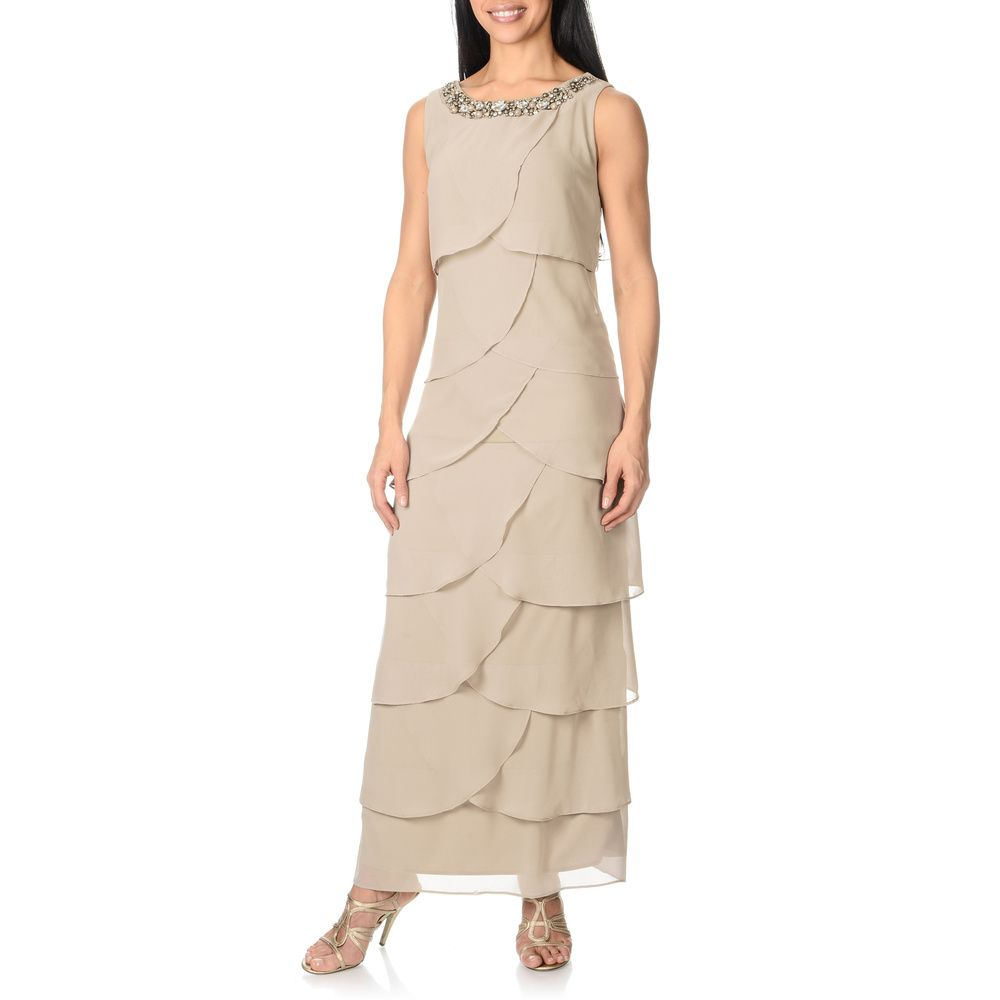 R   M Richards Women s Taupe Asymmetrical Tiered Dress - Overstock™  Shopping - Top Rated R   M Richards Evening   Formal Dresses 563258fc3