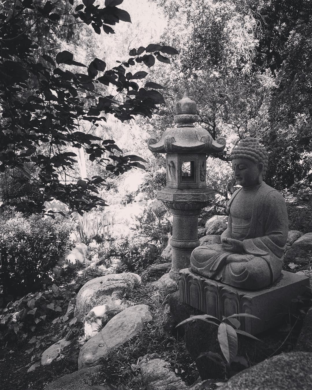 Statue in the Japanese Garden 2 #garden #gardenersnotebook #nature #outdoors #statue #landscape #decor #plants #tree #bw #blackandwhite #blackandwhitephotography