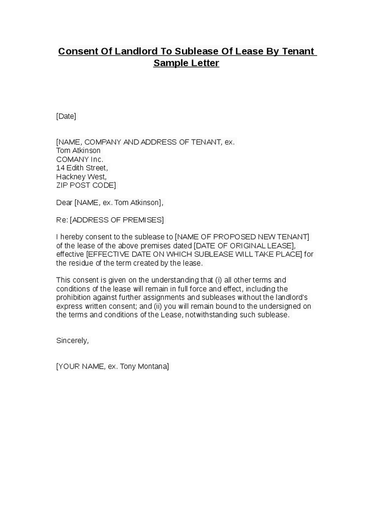 Landlord Sublease Lease Tenant Sample Letter Hashdoc Bill Sale