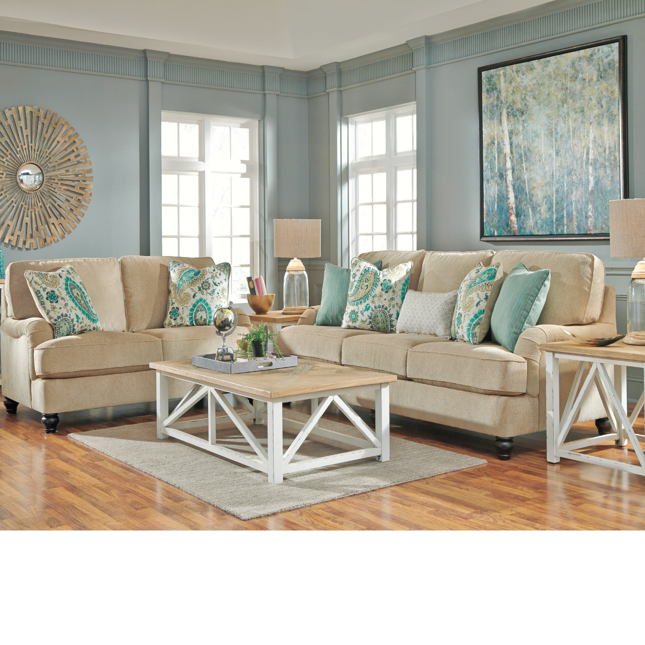 Coastal living room ideas lochian sofa by ashley for Coastal living rooms ideas