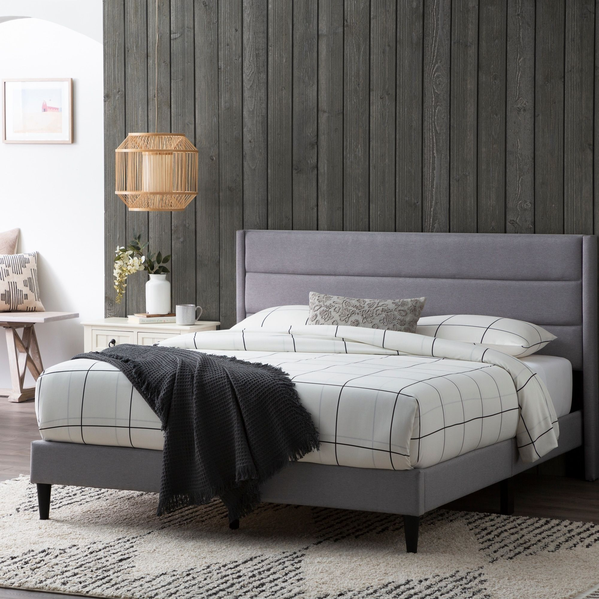 Shop Brookside Sara Upholstered Bed With Horizontal Channels