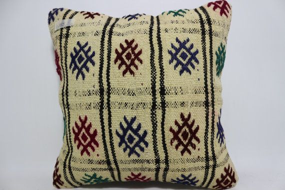 Turkish Kilim Pillow Multicolour pillow 16x16 Embroidered Kilim Pillow floor pillow  Cushion Cover throw pillow natural pillow SP4040-955