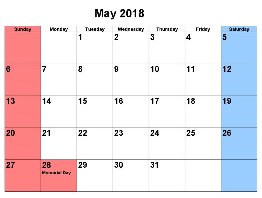 May 2018 Calendar Templates MaxCalendars Pinterest - quarterly calendar template