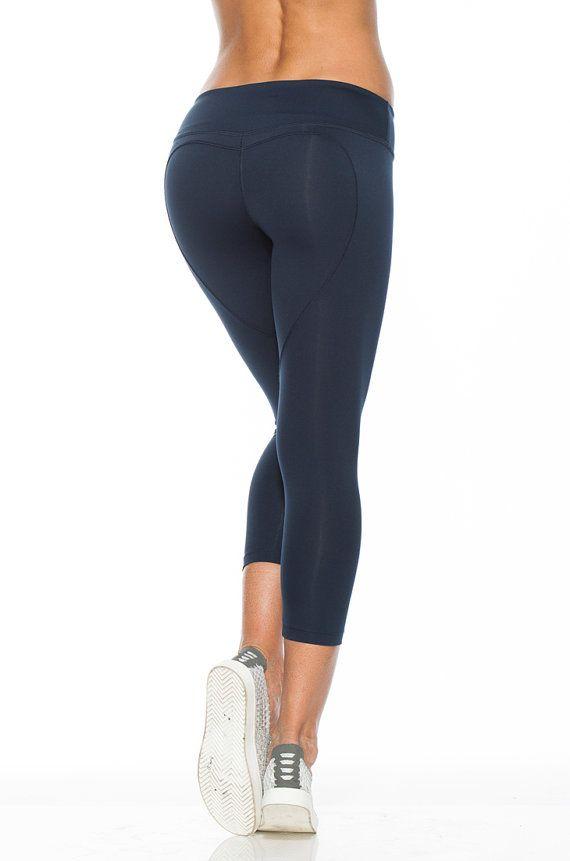 e34f84873489e3 Navy Heart Butt Capri, Navy Blue Yoga Capris, Heart Butt Yoga Capris, High…