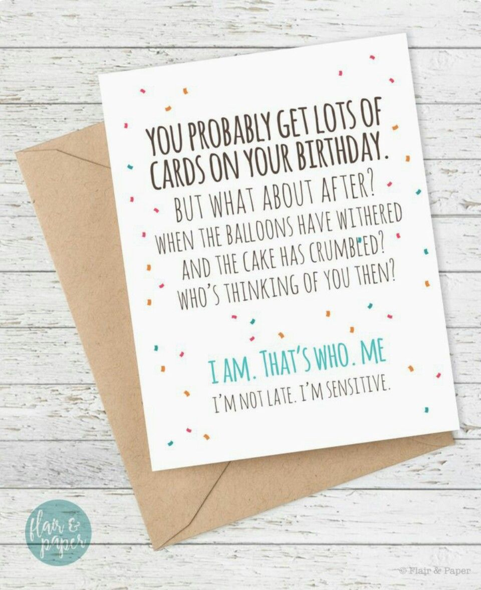 Te laat Belated birthday card, Funny birthday cards