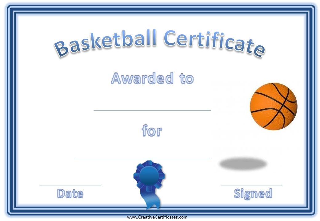 It is a photo of Printable Basketball Certificates regarding template