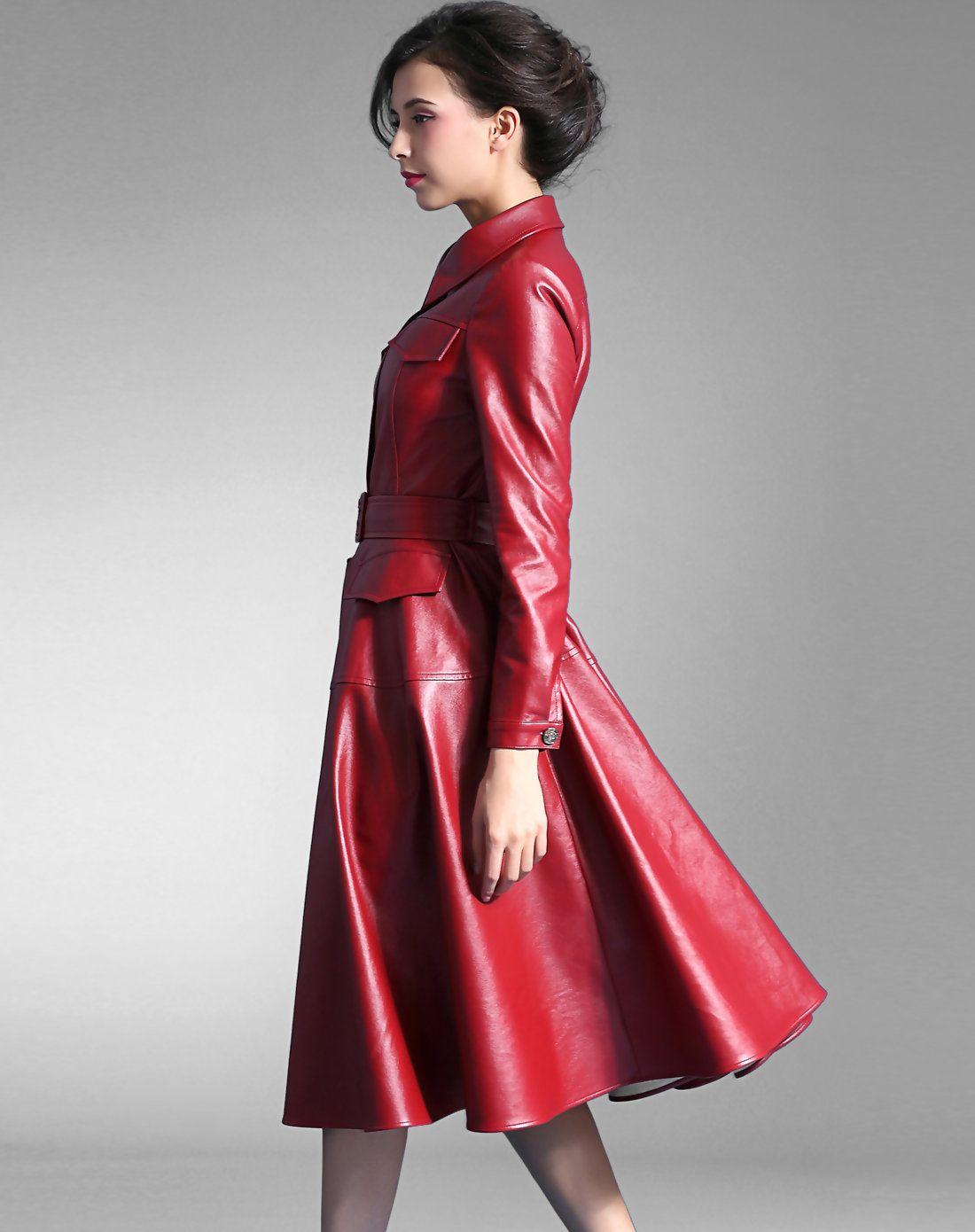 Wine PU Stand Collor Pleated Dress Coat, Red, BAOYAN - VIPme