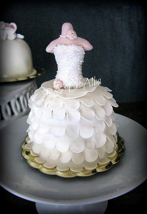 Mini wedding dress cakes images