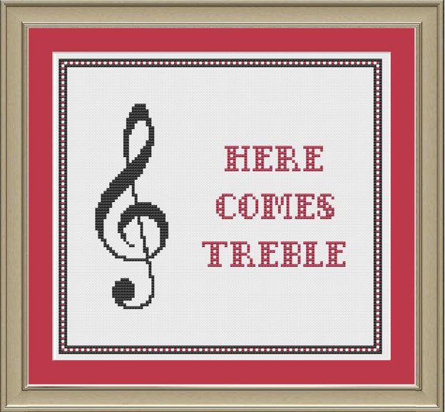 Here comes treble: nerdy music cross-stitch pattern. $3.00, via Etsy ...