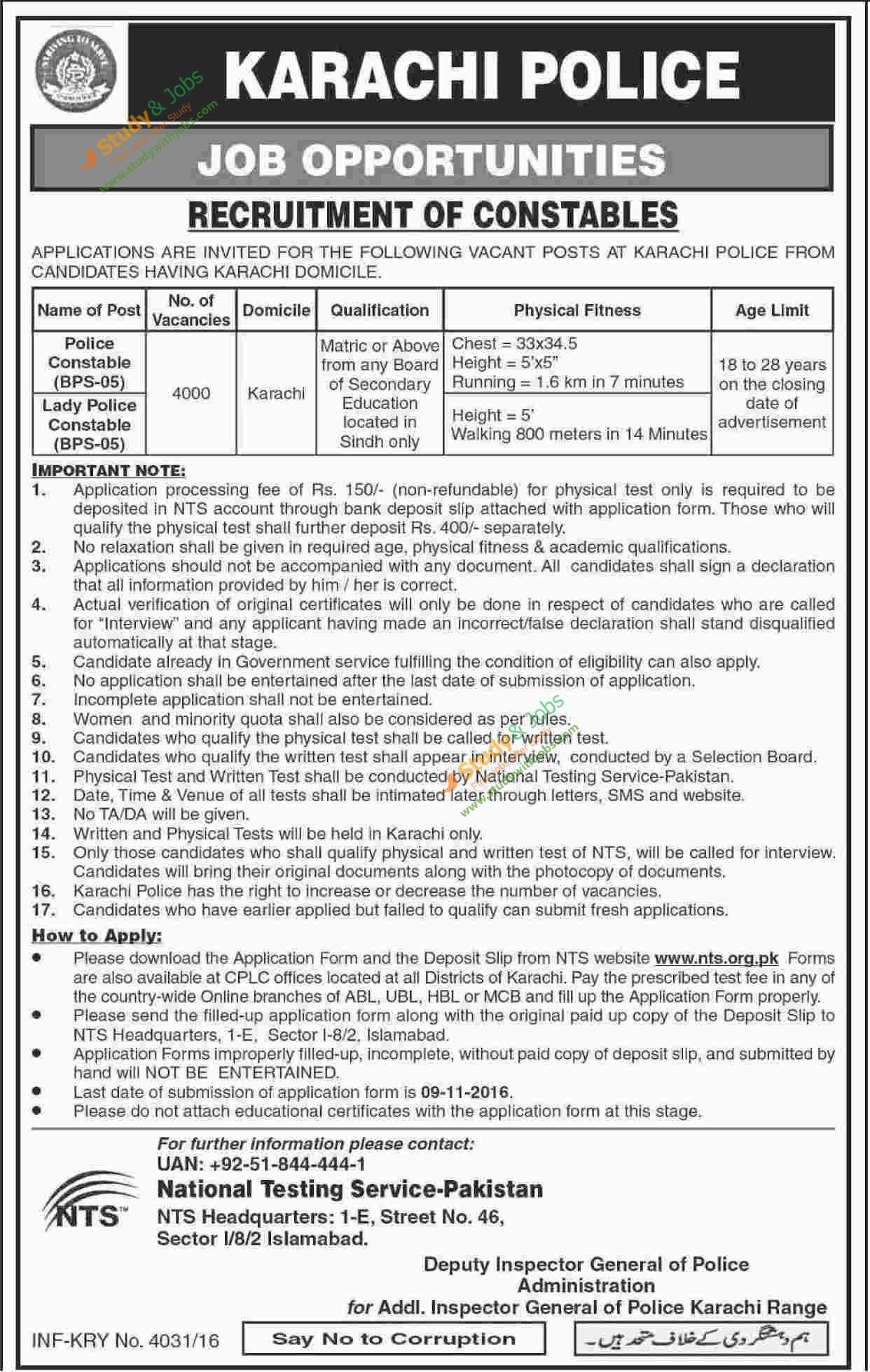 Recruitment of Constables in Karachi Police Download NTS Application on application outline, application fee, application computer,