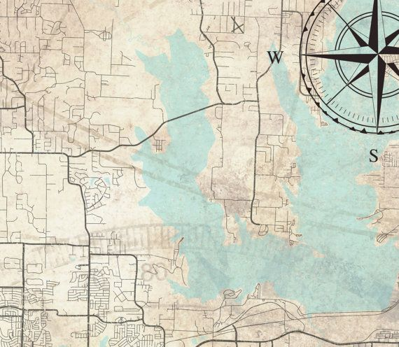 PLANO TX Canvas Print Plano Texas Vintage map City art Horizontal