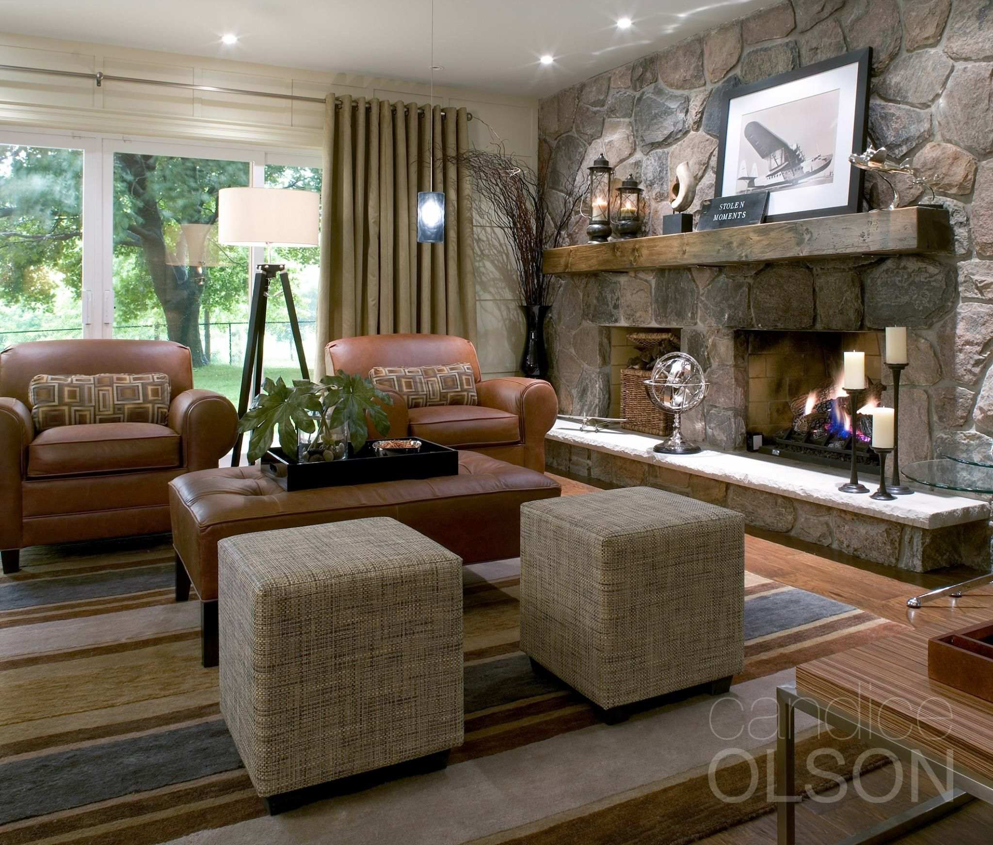 New fireplace with tv eclectic family room minneapolis - Candice Olson Design I Love The Stone Fireplace
