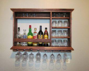 Ebony Mini Bar Wine rack 3 x 2 wall mounted Bar by DogWoodShop ...