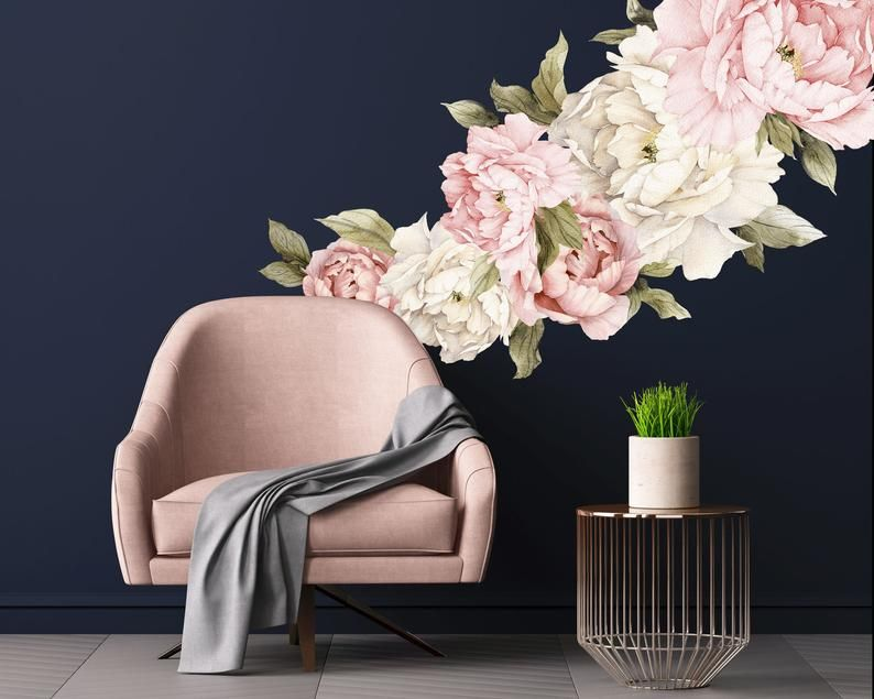 Flower Wall Decals Set Of 6 Large Self Adhesive Peony Floral Wall