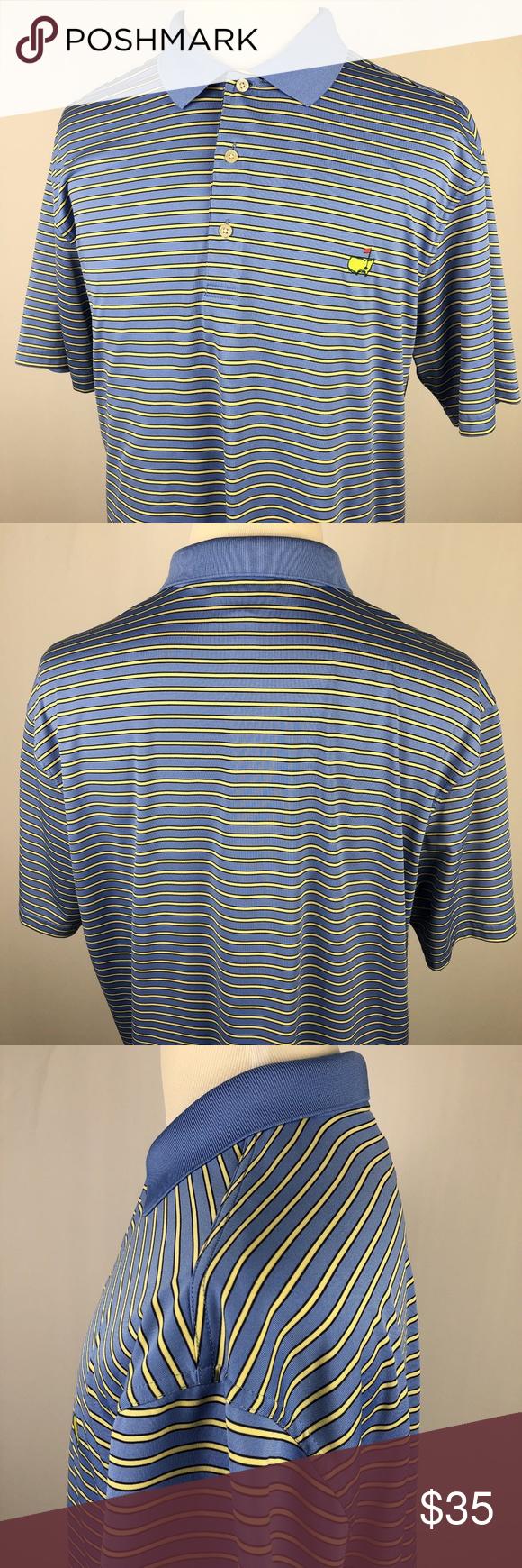 6e4082cd6e3 MASTERS Performance Shirt XL Blue Yellow Black MASTERS Performance Polo  Golf Shirt XL Blue Yellow Black