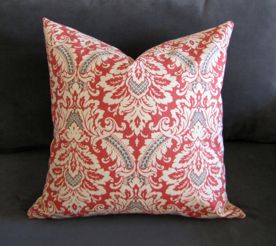 Burnt orange throw pillow, damask print sofa pillow with gray ...