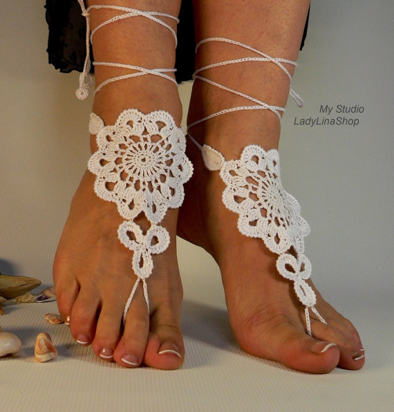 Crochet Barefoot Sandals, Nude shoes, Foot jewelry,Foot thongs ...