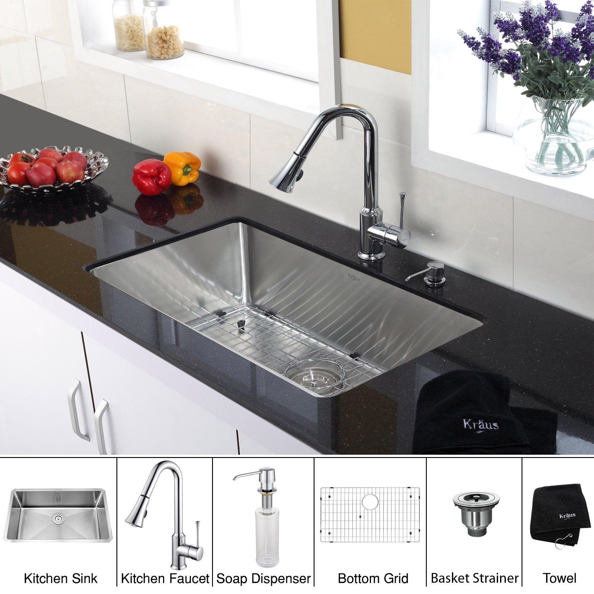 Kraus Khu100 30 Kpf1650 Ksd30ch 30 Quot Undermount Single Bowl 16 Gauge Stainless Steel Kit Chrome Kitchen Faucet Kitchen Sink Design Single Bowl Kitchen Sink