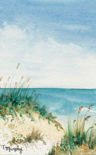 Watercolor On Paper 4x6 Beach