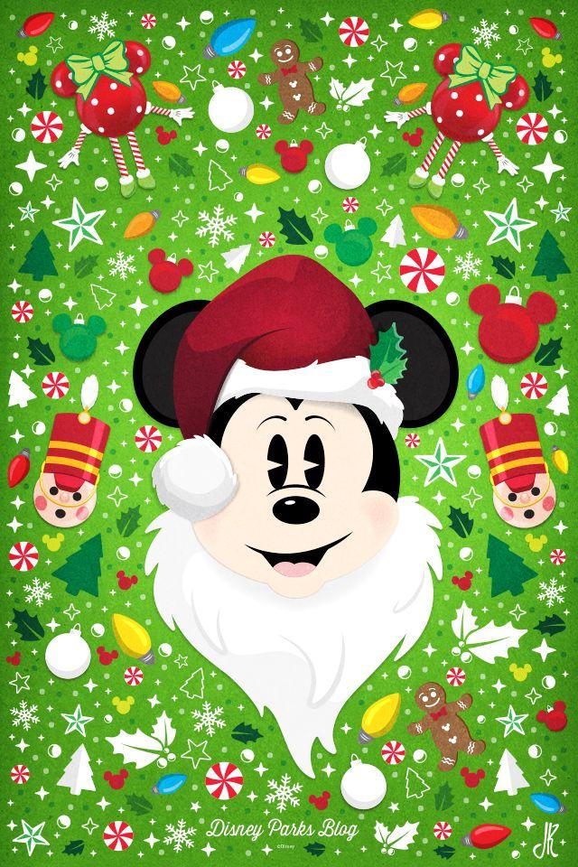 Santa Mickey Wallpaper Mobile Wallpaper Iphone Christmas Disney Phone Wallpaper Disney Christmas