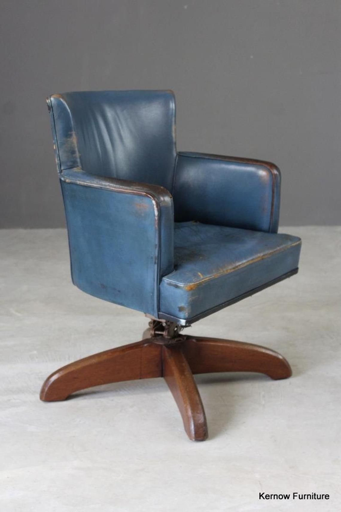 Best Early 20Th Century Blue Leather Office Swivel Chair Etsy 400 x 300