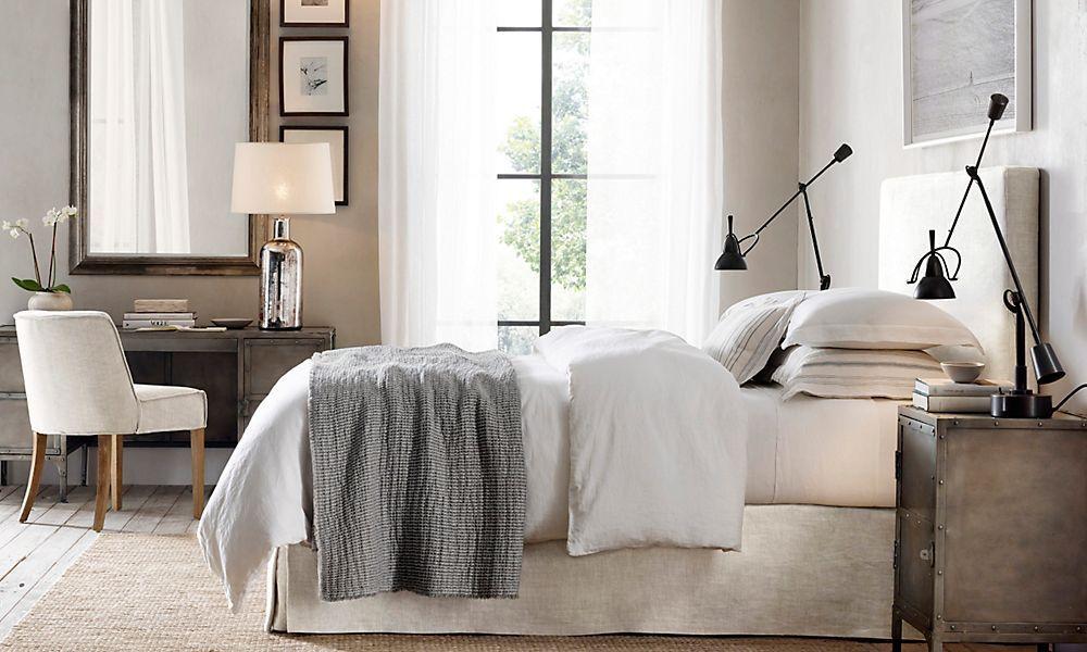 restoration hardware  contemporary bedroom bedroom wall