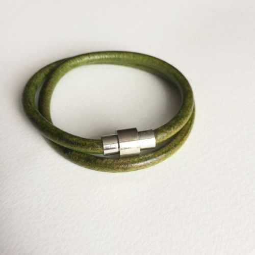 Moss Green Leather Bracelet - Dark Green Infinity Leather...
