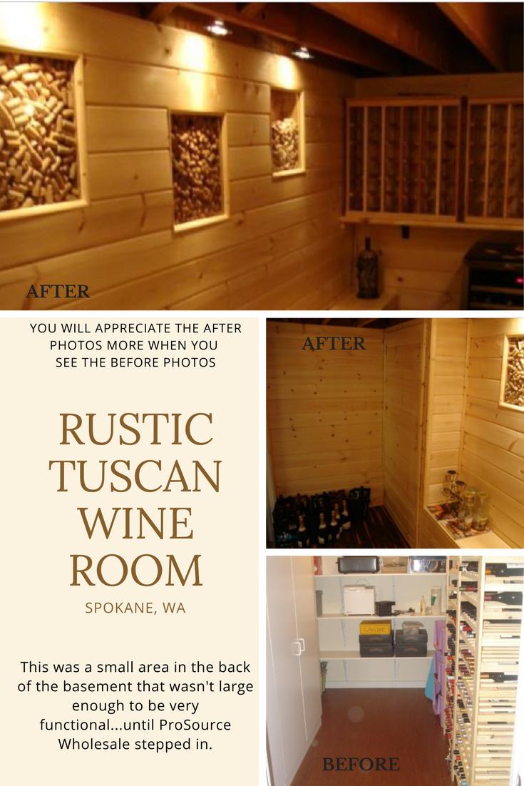 Rustic Tuscan Wine Room in Spokane WA Designed by ProSource