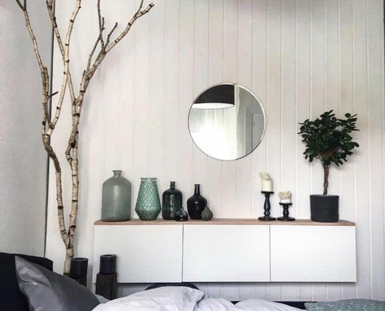 Fischers Lagerhaus schlafzimmerdekoration ikea besta regal birkenstamm und dekoration