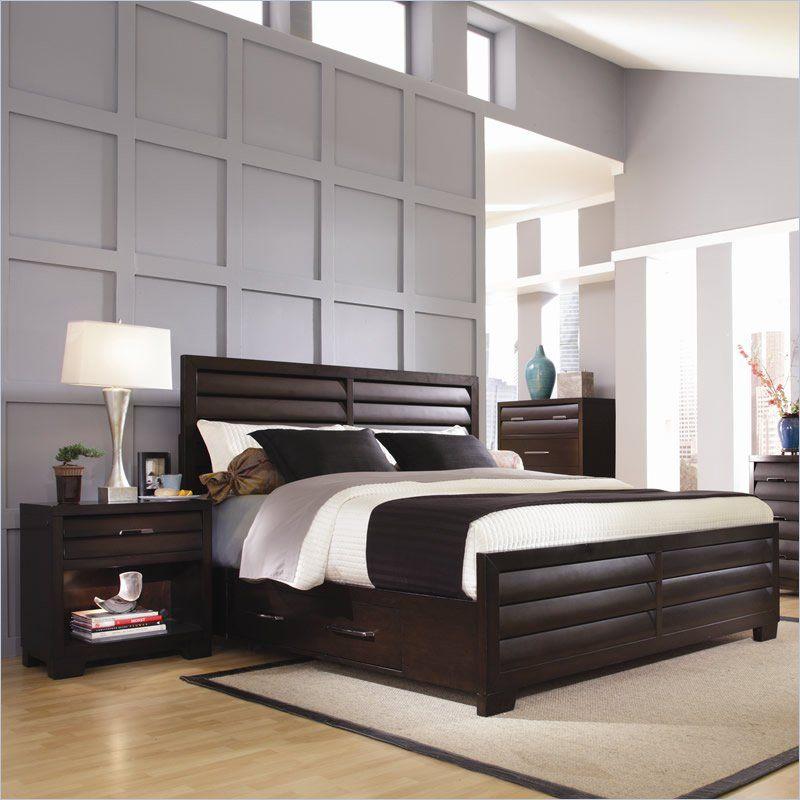 Ski Tangerine 330 Panel Storage Bed 2 Piece Bedroom Set In Sable 3301 2pkg