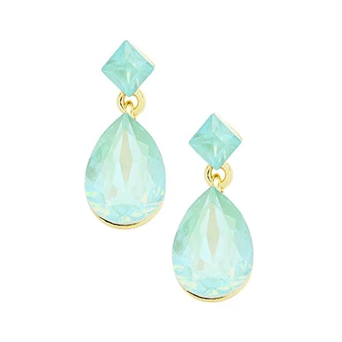 """WHIMSICAL RARE Gold Blue Opal Crystal BIG 3/"""" Cocktail Earrings By Rocks Boutique"""