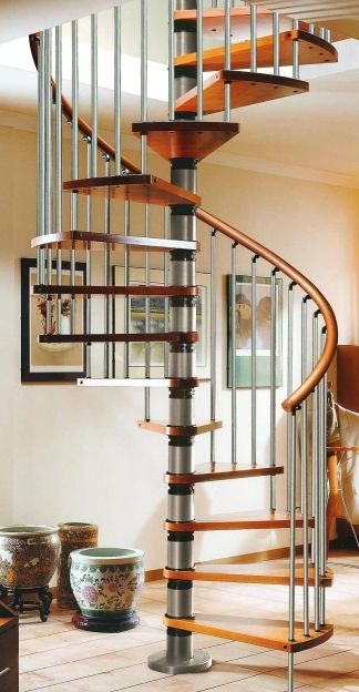 Best Spiral Staircase Kits Gamia Silver Iron And Wooden Design 400 x 300
